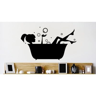 design with vinyl bath tub bubbles water wash relaxing wall decal