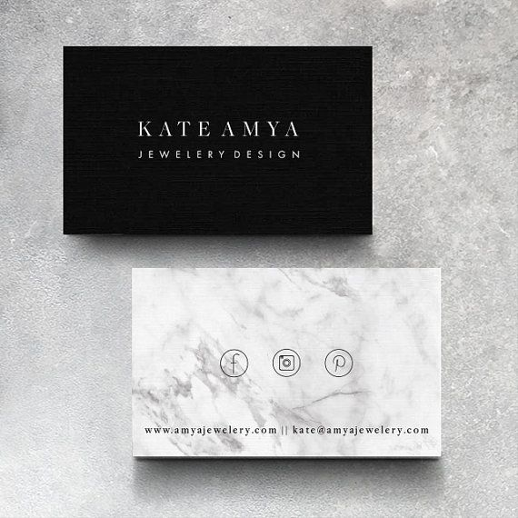Kate Premade Minimalist Marble Business Card Design Branding - Place card maker