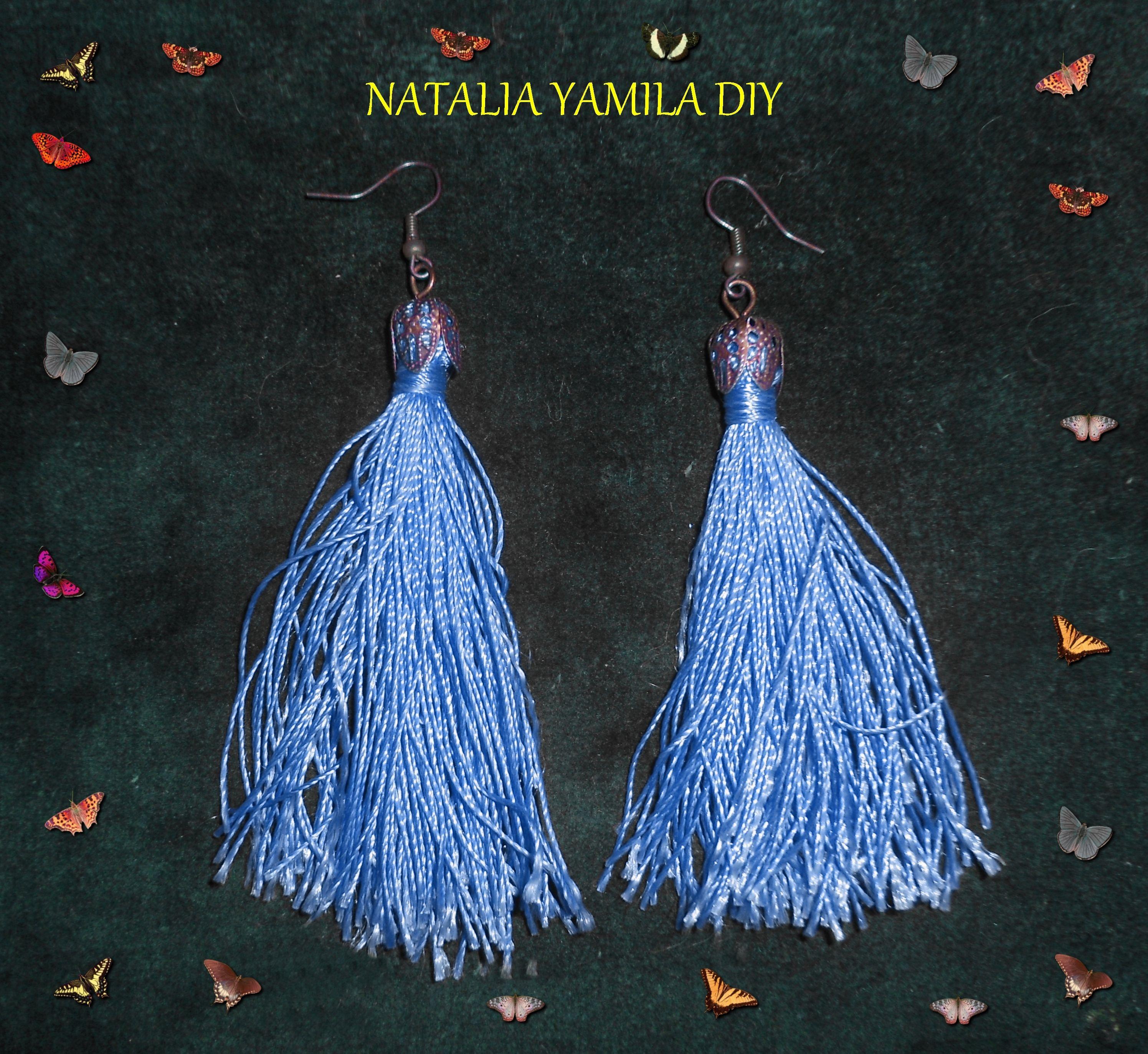 Pendientes artesanales de hilo y alambre de alpaca . Handmade earrings