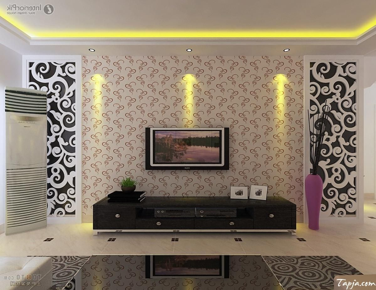 Delightful Living Room Interior Decorating With Wallpaper Beside Tv Wall  Mounted As Wel Black Glass Table Part 49