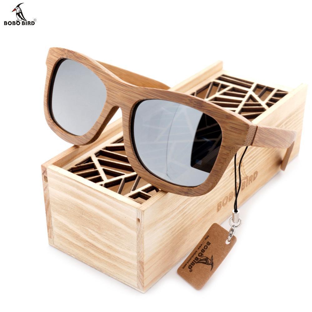 79d24fa74de7 100% Natural Handmade Bamboo Wooden Sunglasses Polarized Mirror Coating  Lenses