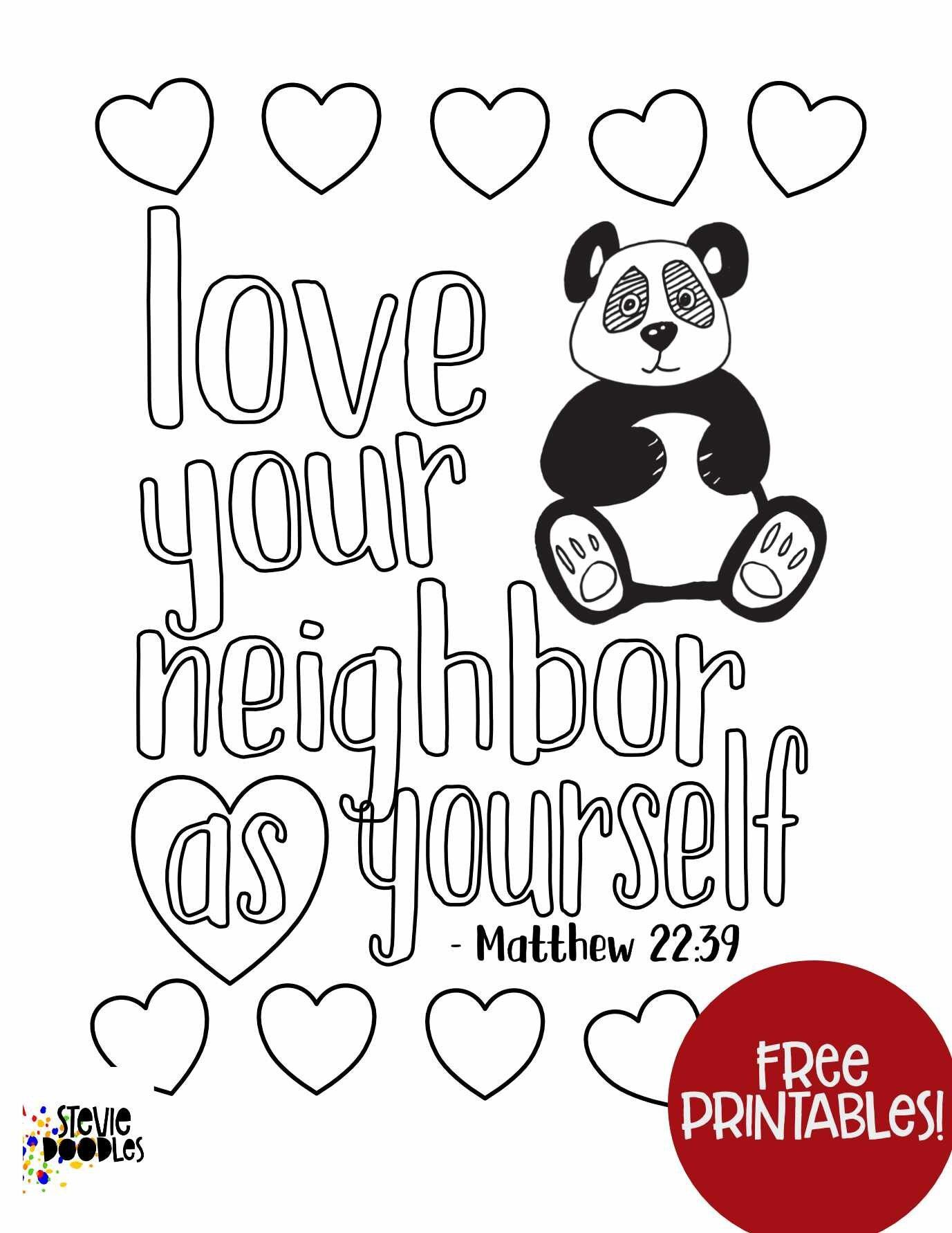 Free Kids Coloring Page - Matthew 22:39 - Love Your Neighbor As Yourself over 1000 free coloring pages at Stevie Doodles  #freecoloringpage #scripturecoloring #scriptureprintable #biblecoloring #bibleprintable #kidsmemoryverse #kidsscriptureprintable #kidsbiblestudy #loveyourneighbor