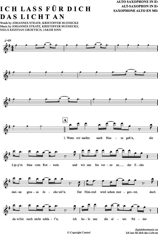 Ich Lass Für Dich Das Licht An (Alt-Sax) [PDF Noten] >>> KLICK auf die Noten um… – notendownload