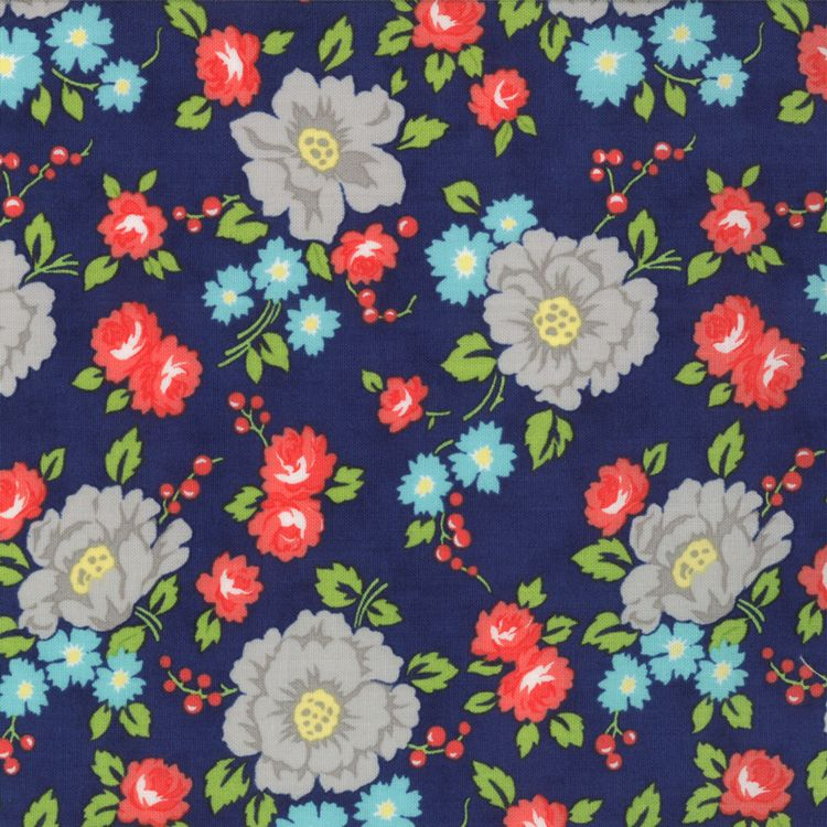 Happy Go Lucky - Garden - Navy (half yard) by Bonnie and Camille (55061 17)