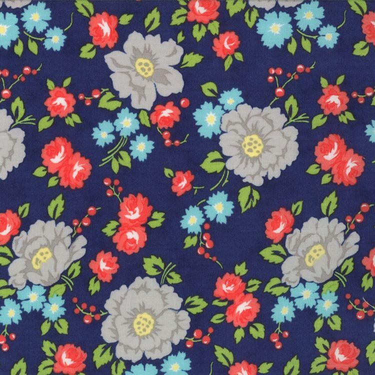 Happy Go Lucky - Garden - Navy (half yard) by Bonnie and Camille (55061 17)