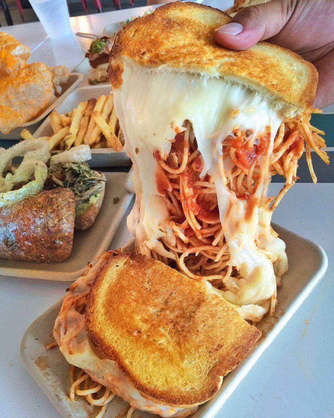 Instagram is raging over these spaghetti grilled cheese