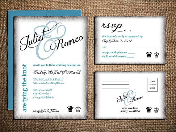 King and Queen Wedding Invitation & RSVP Card - Burnt Edges - Printable DIY