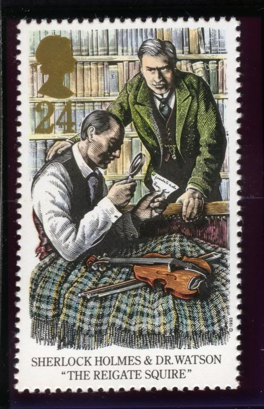 "Sherlock Holmes & Dr. Watson ""The Reigate Squire"" postage stamp"