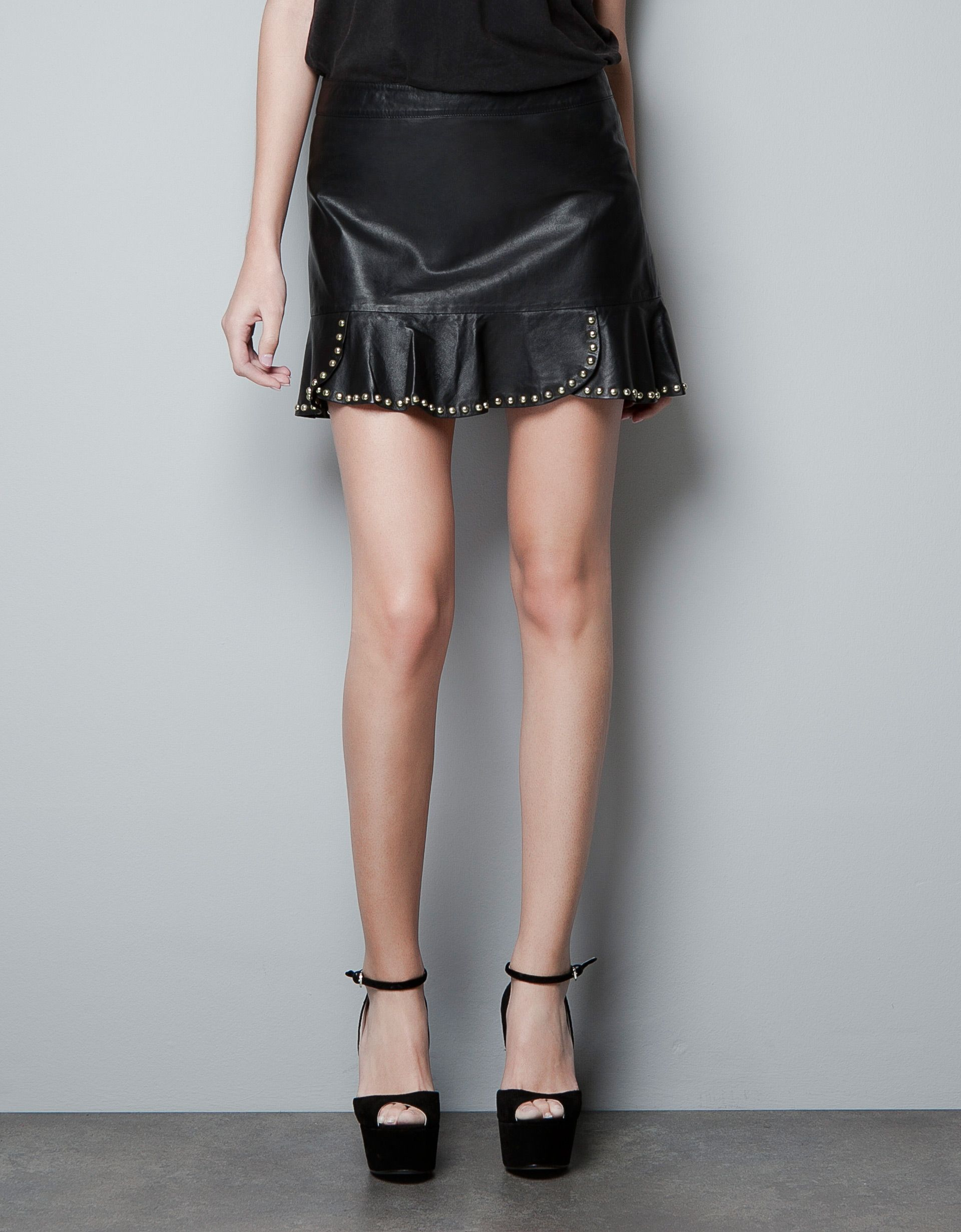 6b5a6be2 zara leather skirt with studded frill | just beautiful fashion ...