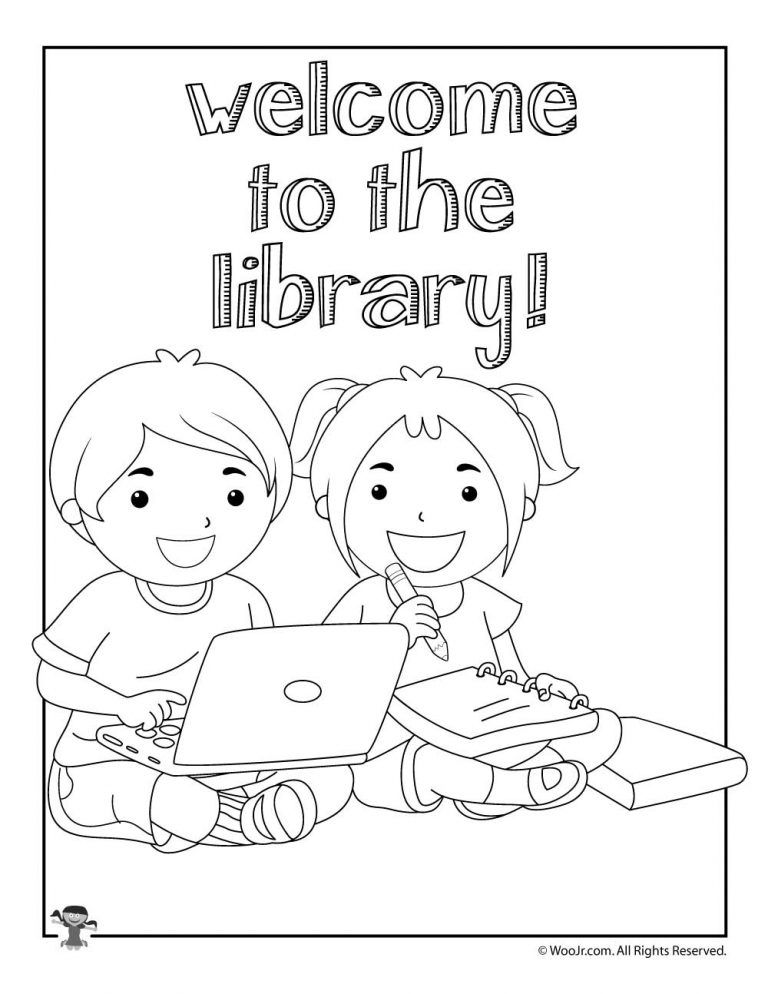 Welcome To The Library Coloring Pages Drawing Books For Kids