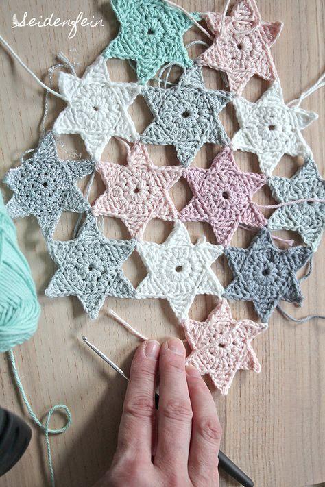 8 Sternchenregen + Anleitung * crochet stars + Tutorial ...