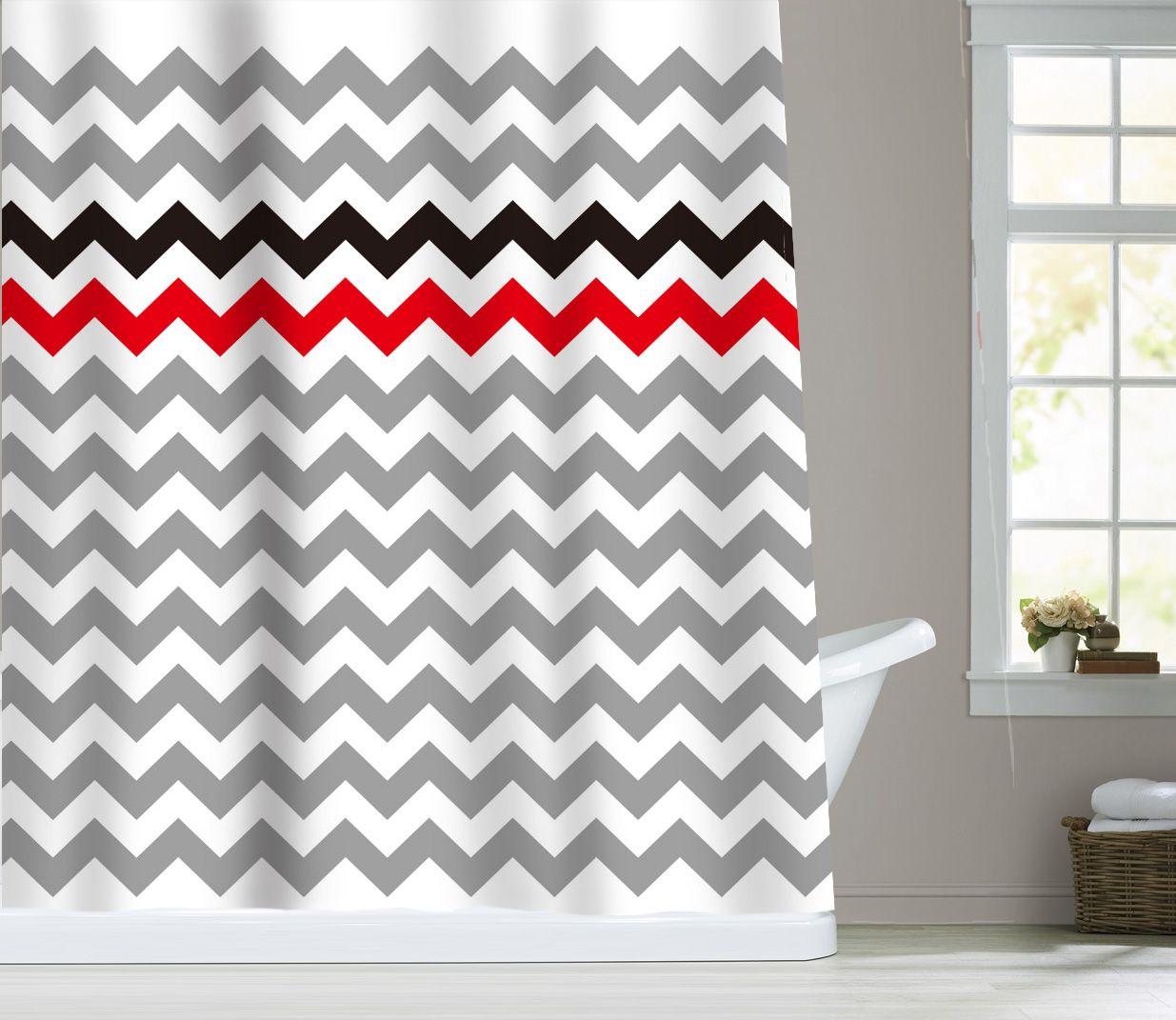 Zigzag Stripes Chevron Fabric Bathroom Shower Curtain Red Black Gray ...