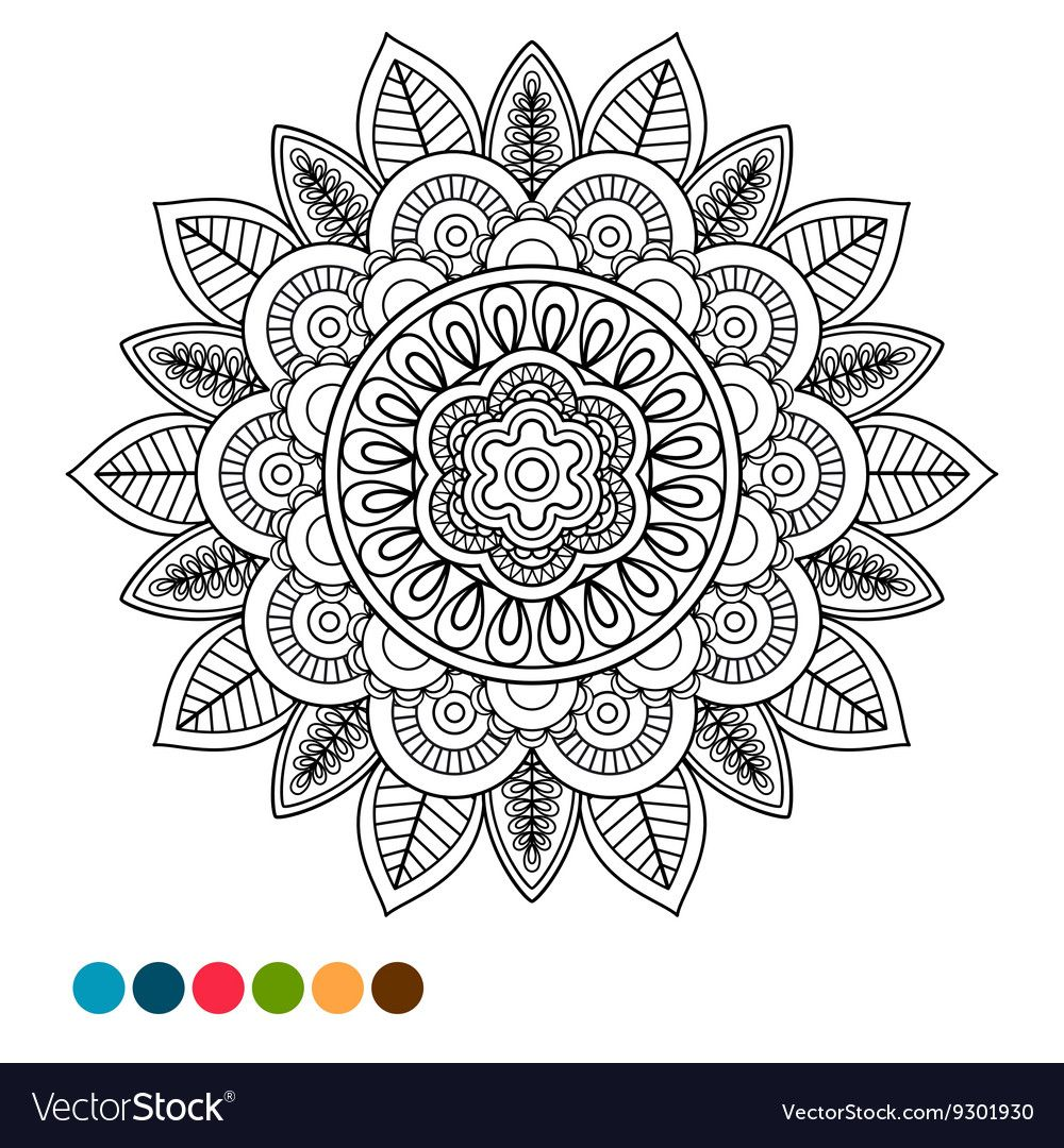 Circle Black And White Mandala Ornament Antistress Coloring Page With Colors Samples Download A Free Preview Or Hig Antistress Coloring Mandala Coloring Pages