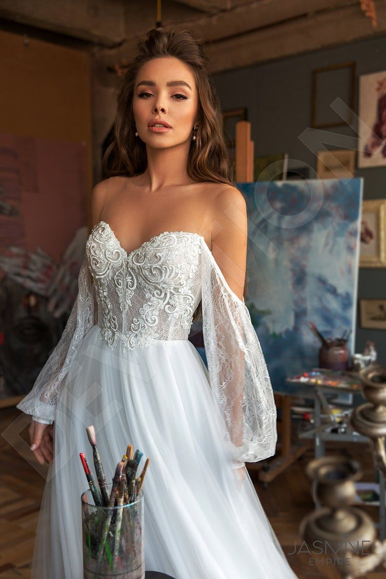Individual size A-line silhouette Roxana wedding dress. Modern style by DevotionDresses – beach wedding