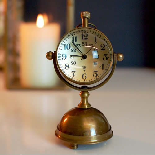 Fathers day gift Vintage Antique Round Brass Gold Desk Clock - Fathers Day Gift Vintage Antique Round Brass Gold Desk Clock Time