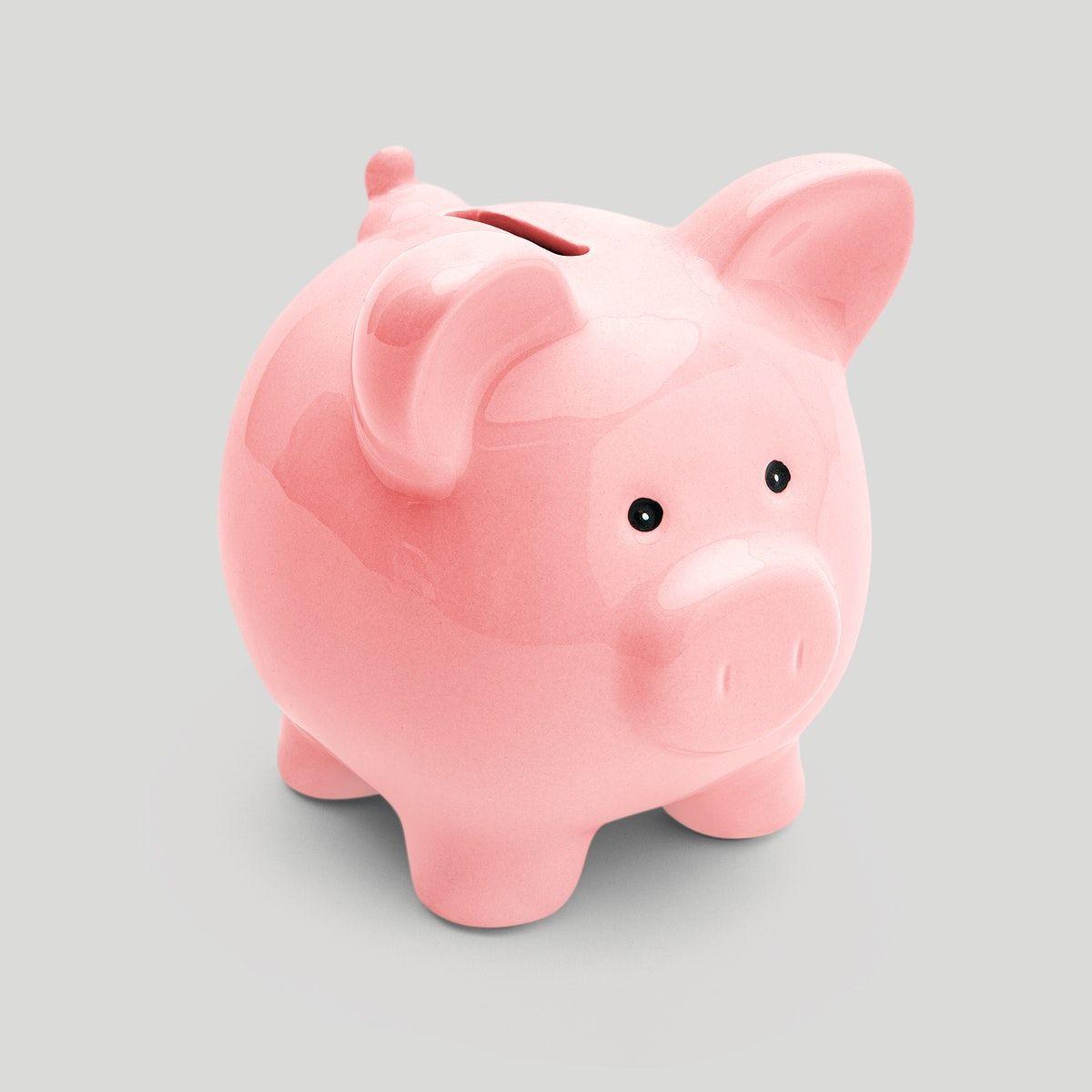 Download Premium Illustration Of Pink Piggy Bank Sticker Mockup On A Gray Pink Piggy Bank Piggy Bank Piggy