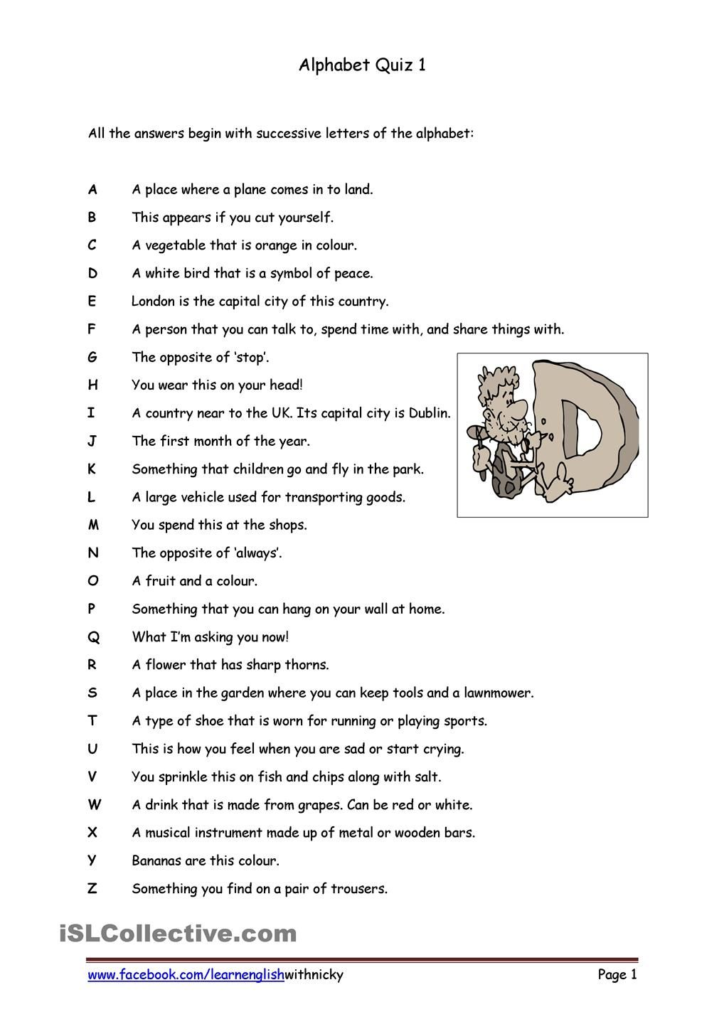 alphabet quiz 1 a work games pinterest worksheets and activities. Black Bedroom Furniture Sets. Home Design Ideas