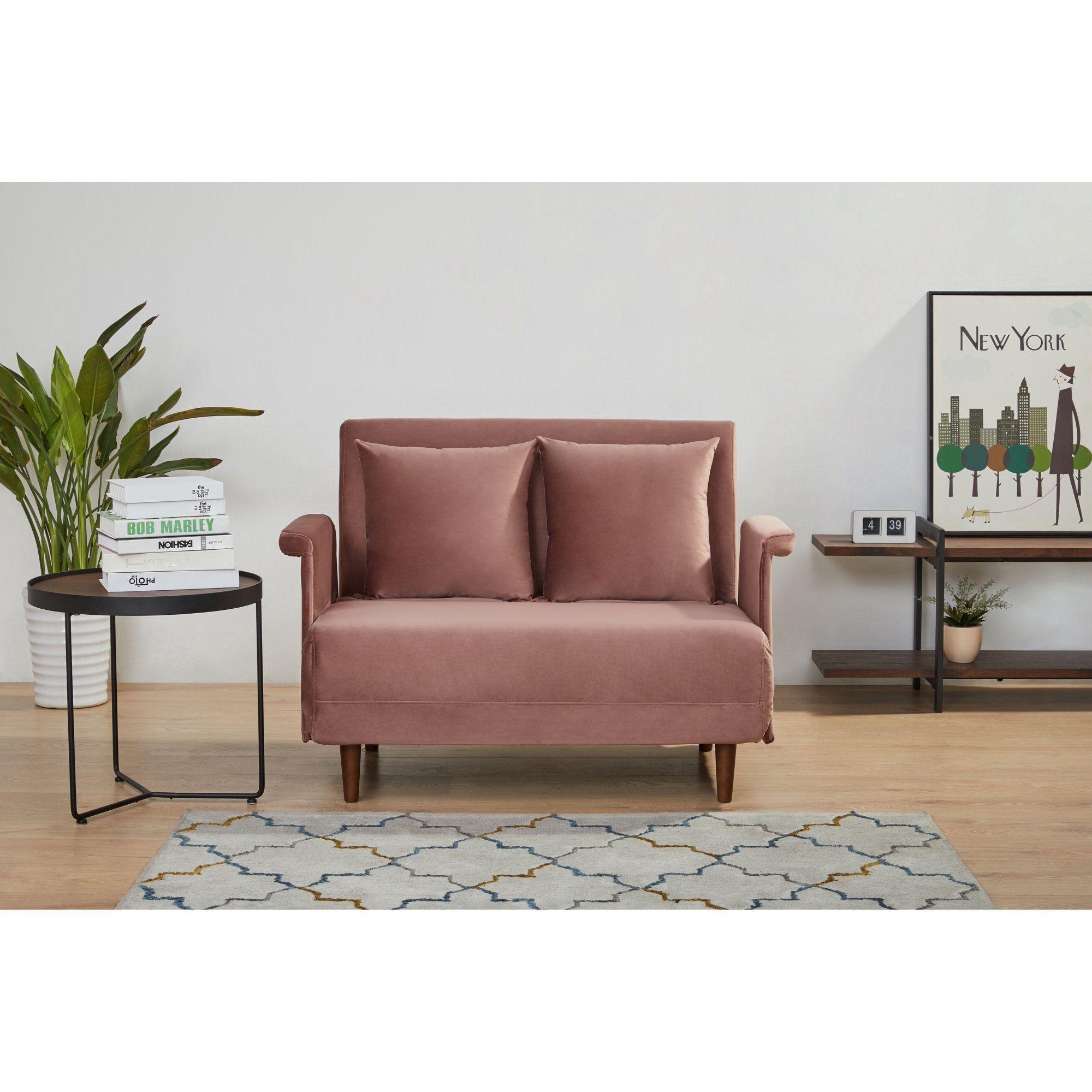 """A&D Home Boston 39.37"""" Velvet Convertible Chair, Green"""