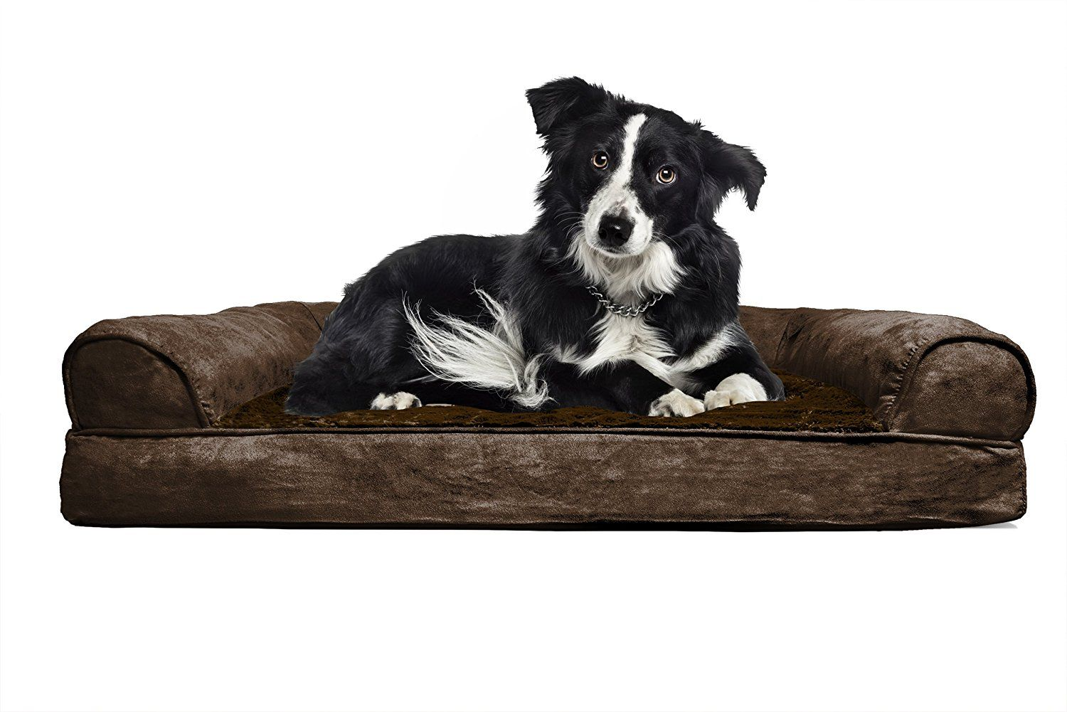 FurHaven Large Plush & Suede Orthopedic Sofa