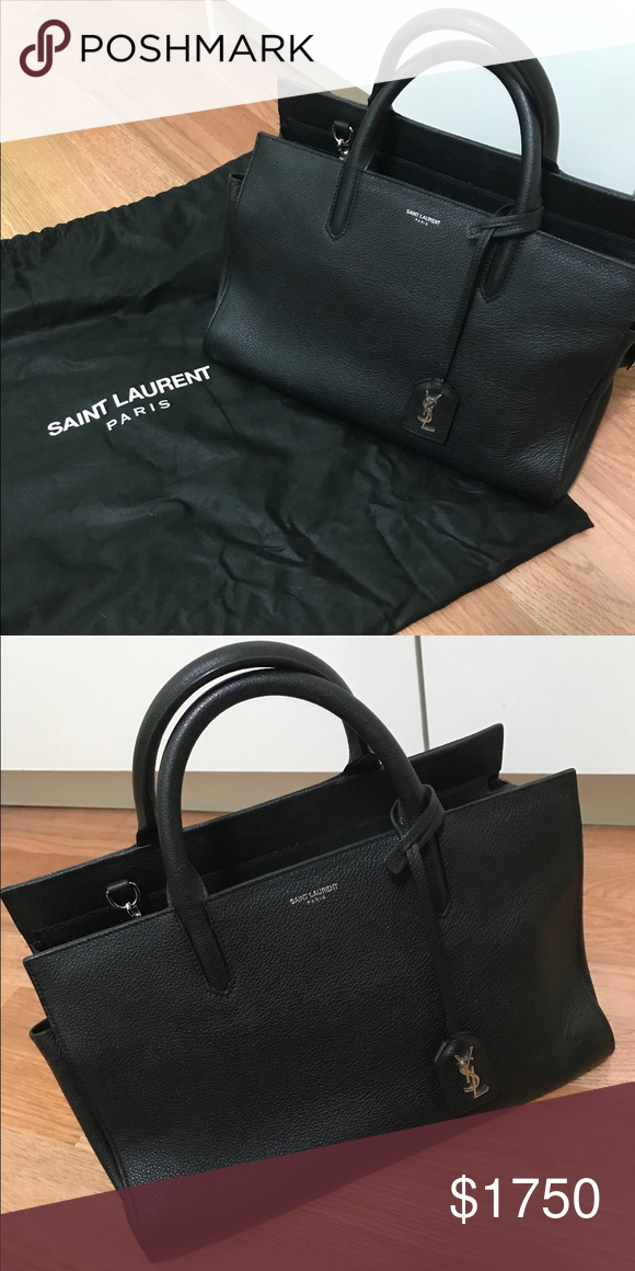 17d59bc829 Authentic Saint Laurent YSL Purse 100% authentic amazing condition YSL  Medium purse with top handles. Such a classic black bag with the silver YSL  monologue ...