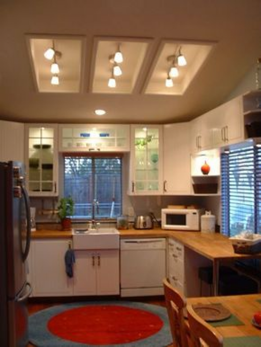 remodel flourescent light box in kitchen | ... light fixtures in the old fluorescent light boxes. What do you think #kitchenfixtures #kitchen #fixtures #over #table