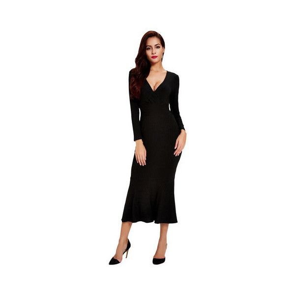 Sexy V-Neck Long Sleeve Skinny Black Fishtail Knit Dress (£20) ❤ liked on Polyvore featuring dresses, gowns, black, sexy dresses, long sleeve evening gowns, v neck gown, long sleeve collared dress and sexy long sleeve dresses