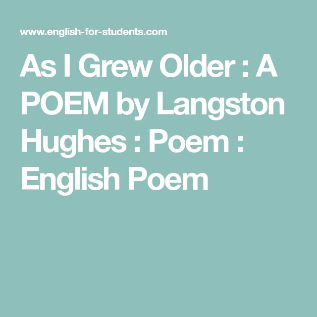 as i grew older langston hughes