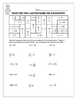 Solving OneStep Equations Riddle & Coloring Worksheet