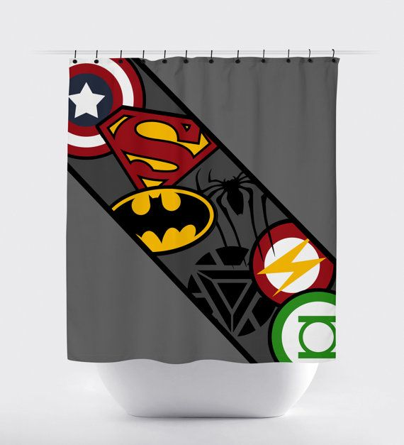 Awesome Superhero Logo Shower Curtain High Quality Fabric Shower