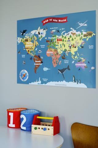 Maps For Kids Unique Wall Art For Kids Kids Pinterest - World wall map kids