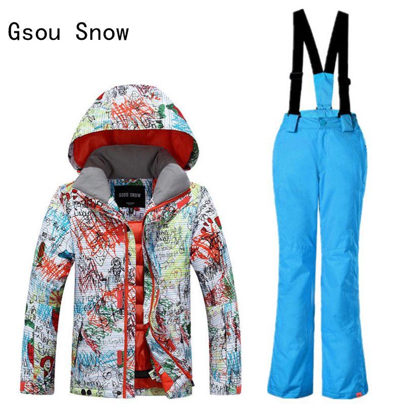 5fd359646 New Gsou Snow Boys Ski Jacket+Pants Outdoor Sport Wear Skiing ...