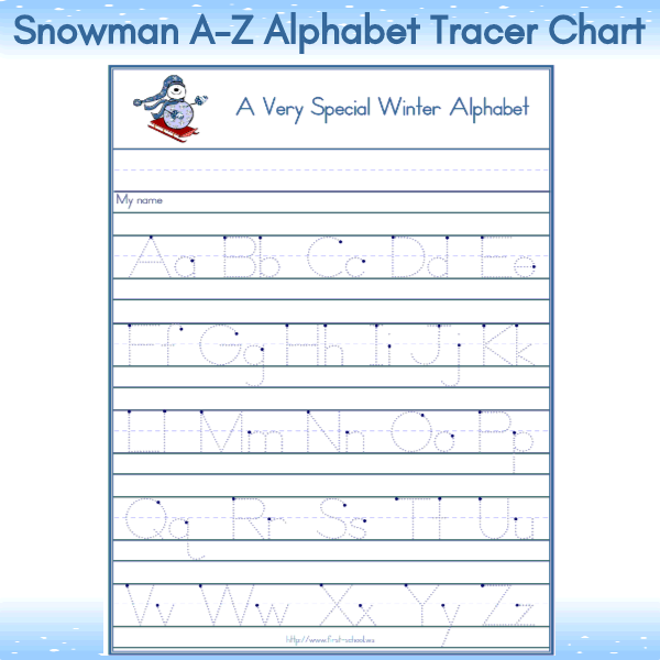Snowman Theme A Z Tracer Chart For Pre K