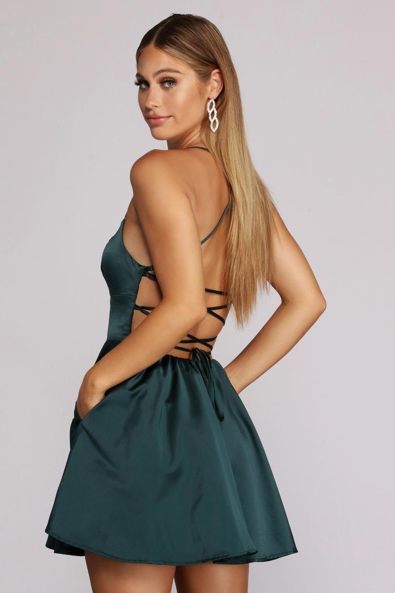 Sonya Satin Dress In 2021 Satin Homecoming Dress Satin Dresses Cute Prom Dresses [ 1200 x 800 Pixel ]