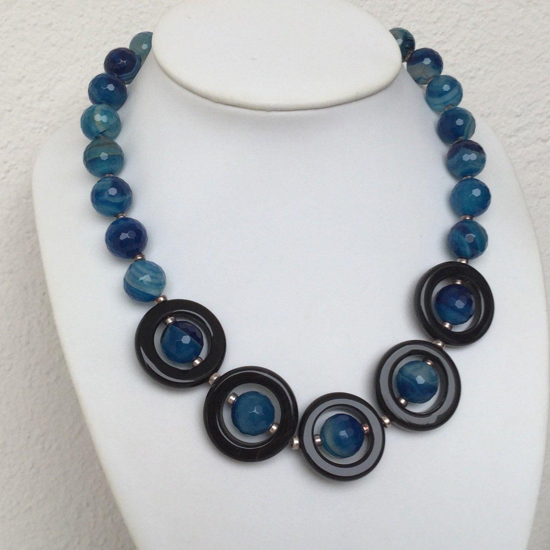 Blaue Achat Onyx Stein Kette Mit 925 Silber Onyx Necklace Black