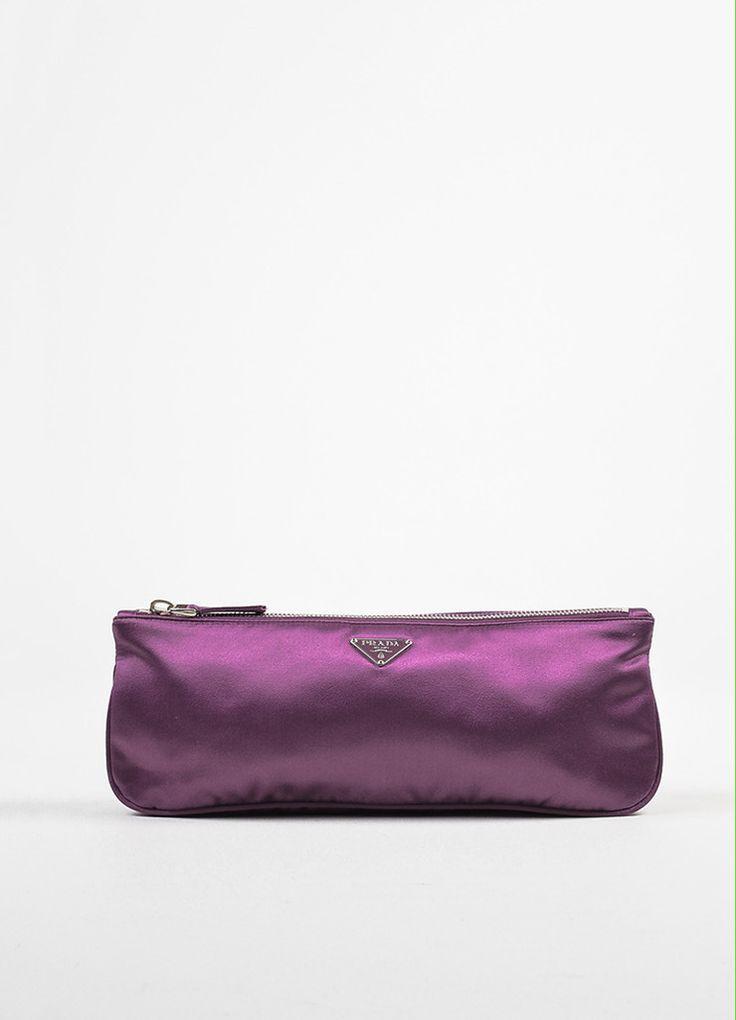 b26f71f984ab Prada Purple Satin Zipper Clutch Bag Diese und weitere Taschen auf  www.designertaschen-shops.de entdecken