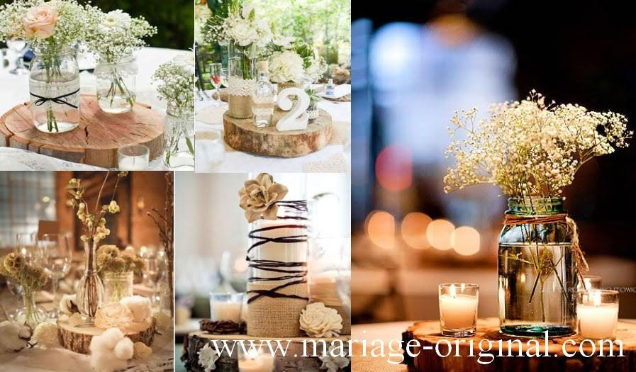 Decor Mariage Champetre Centre Table Mariage Champetre Rondins