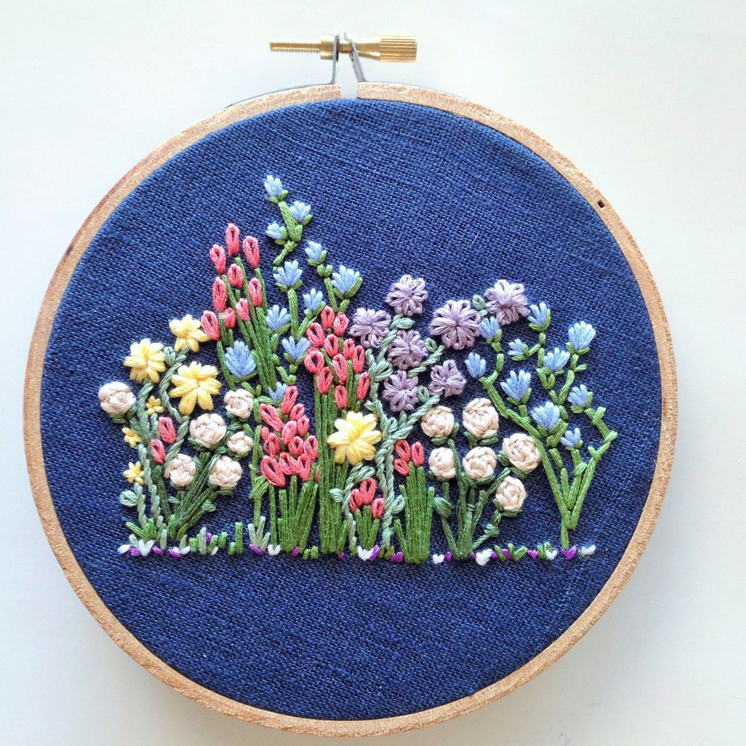 Hand embroidery pattern flower embroidery hoop pattern embroidery