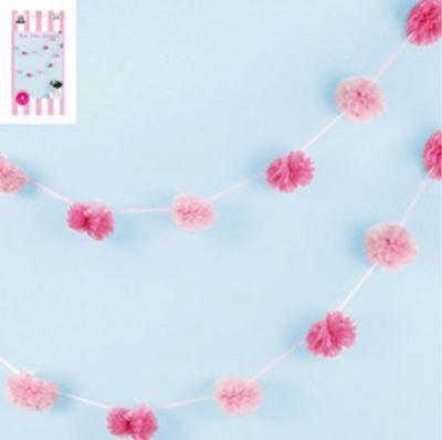 Pom Pom Garland Pink 8pcs 3m