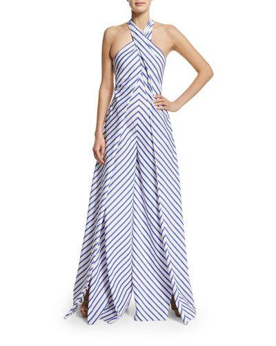 78d4243a6767 B37JX Ralph Lauren Sleeveless Crisscross Striped Jumpsuit