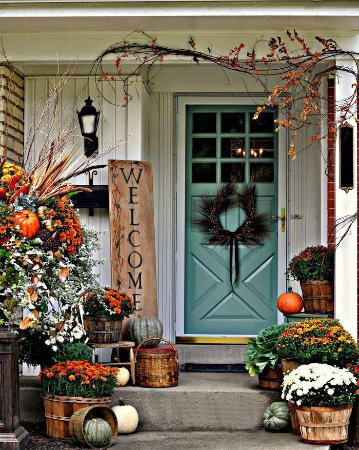 41 Cozy Thanksgiving Porch Decor Ideas Digsdigs Fall Decorations Porch Fall Front Porch Decor Front Porch Decorating