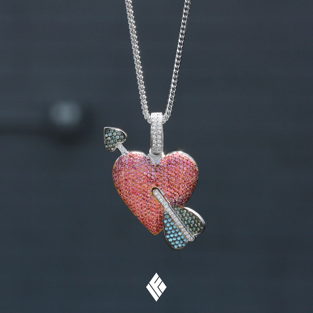 Solid 18k White Gold Heart Arrow Emoji Pendant Fully Iced Out With Vs White Blue Diamond Arrow Through Pink Sap Blue Diamond Heart With Arrow Mens Jewelry
