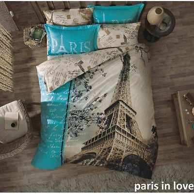 100% Cotton 4 pcs Paris in Love  QUEEN Double Bedding Duvet Cover Set