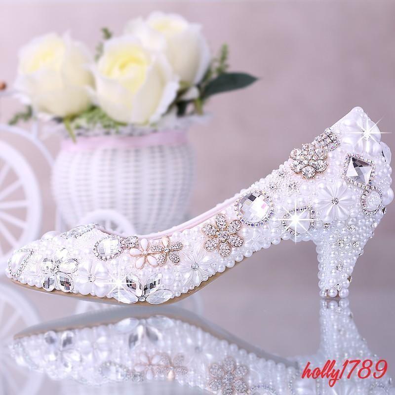 Womens Bridal Wedding Crystal Rhinestone Flowers Pearl Kitten Heels Pumps#Pointy