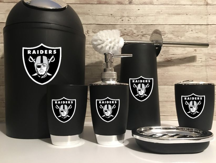 6 Pc Bathroom Set Black Raiders Logo