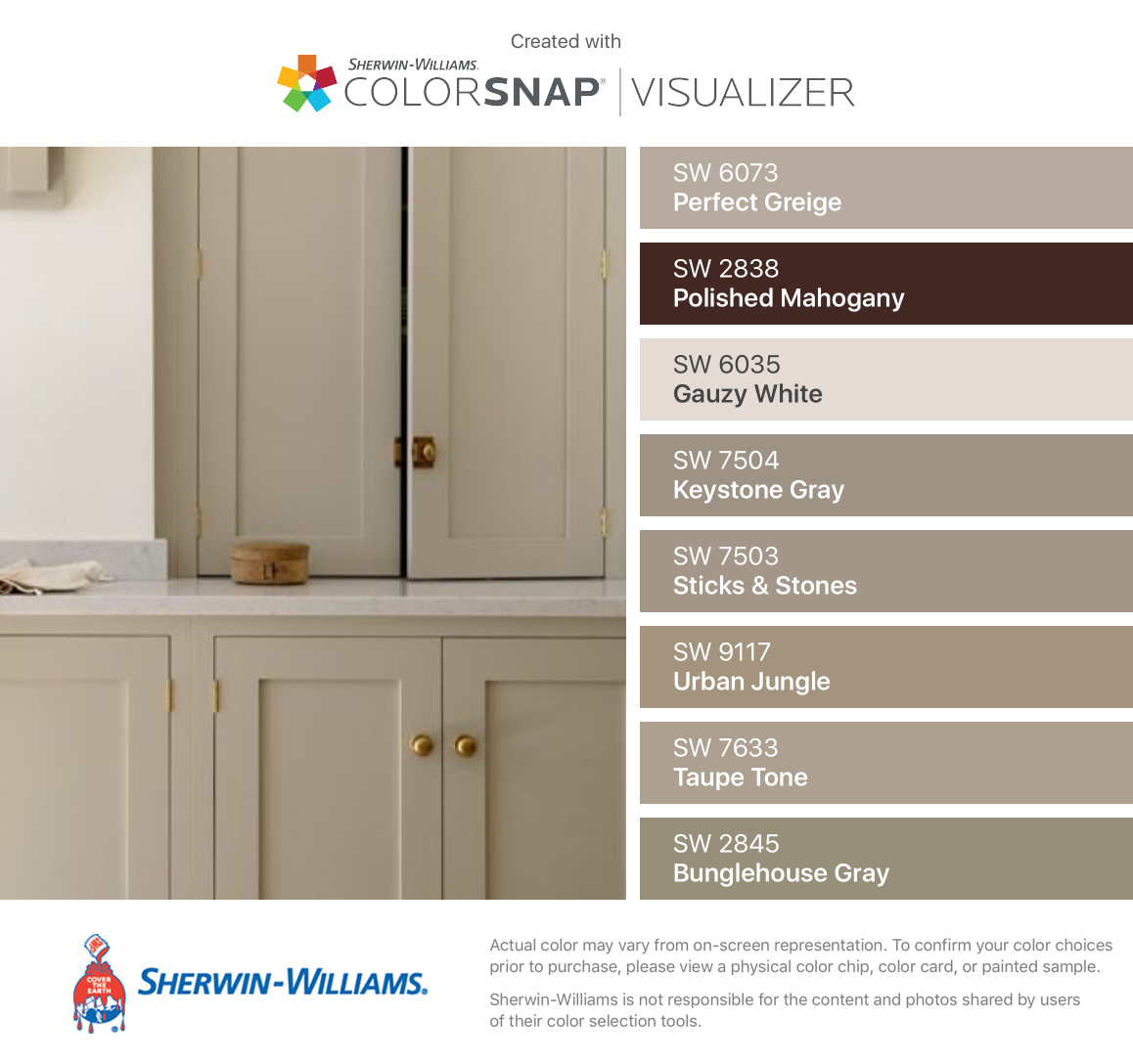 I Found These Colors With Colorsnap Visualizer For Iphone By Sherwin Williams Perfect Greige Sw 6073 Greige Kitchen Brown Kitchens Kitchen Cabinet Colors