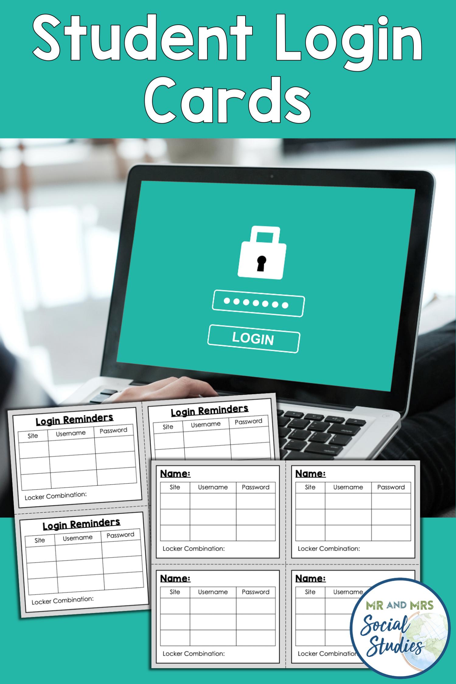 Student Login Cards + Student Login Information Sheets