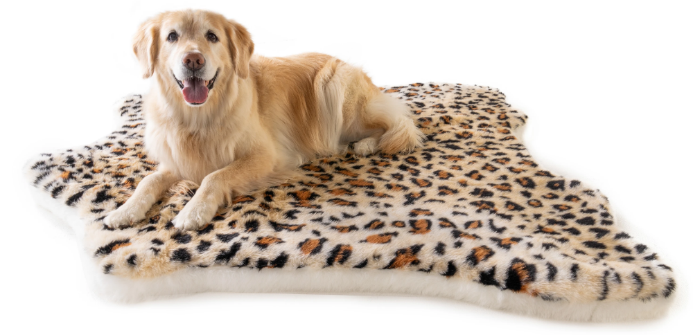 PupRug™ Animal Print Memory Foam Dog Bed Cheetah Faux