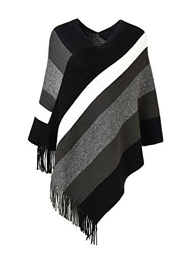 8fdf9c361938e5 Ferand Women's Elegant Knitted Poncho Top with Stripe Patterns and Fringed  Sides , Black & Grey $16.99