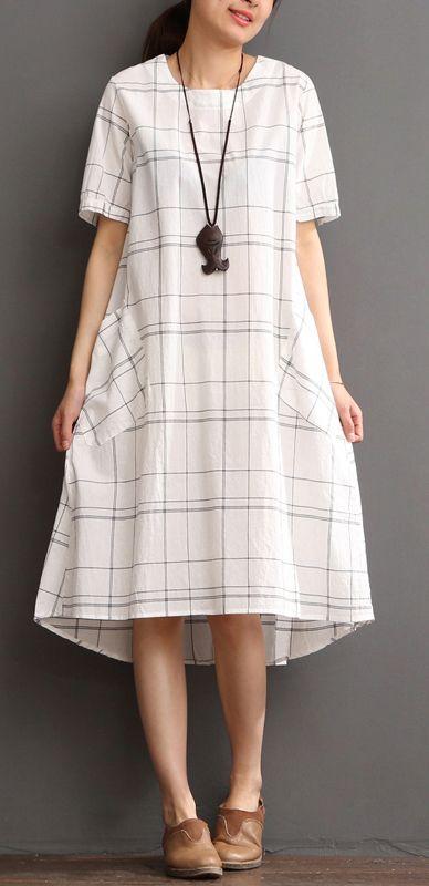 9c79646148a White cotton dress plaid sundress plus size summer maxi dress ...