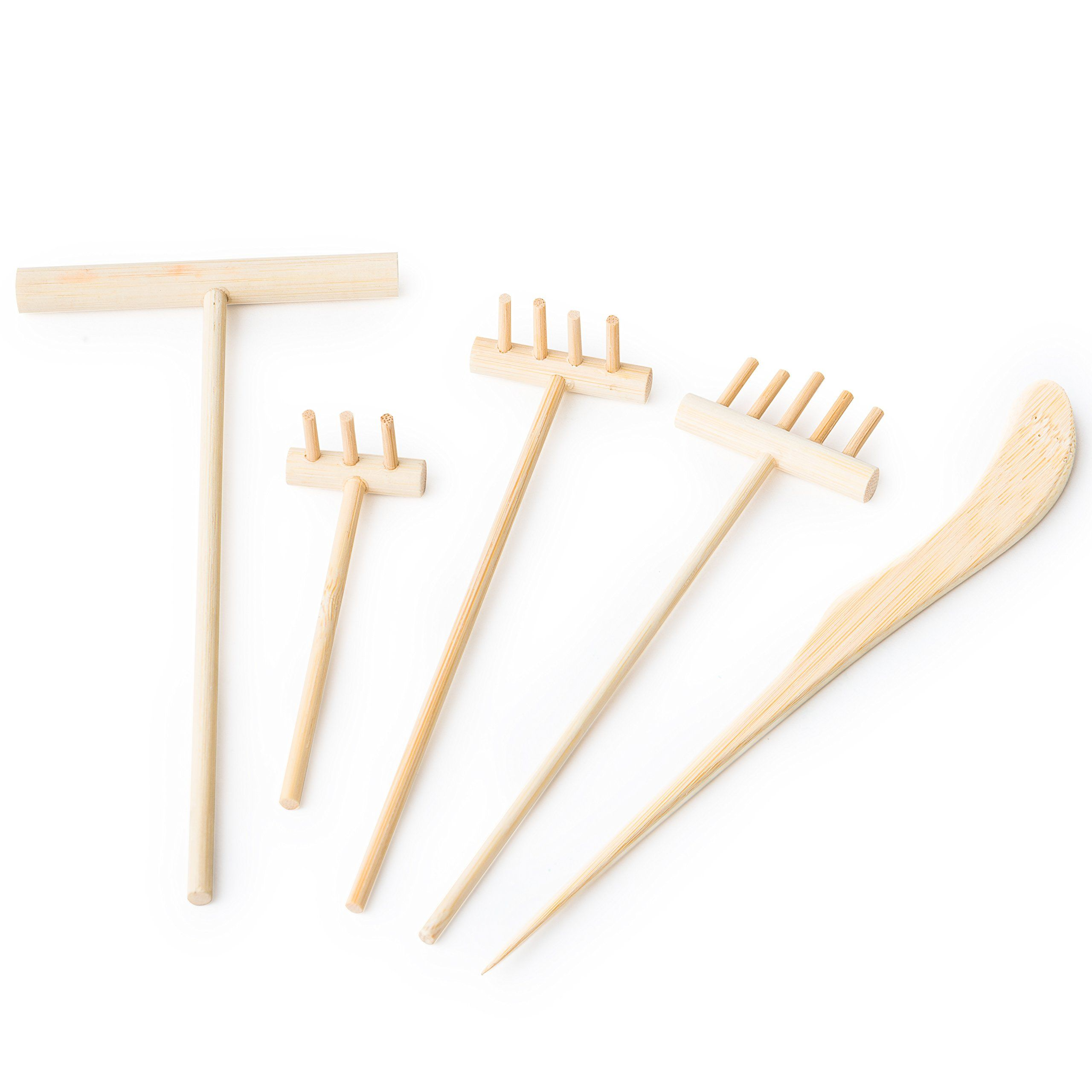 Mini Zen Garden Rake Set: 5 Small Bamboo Rakes For Desktop Or Tabletop  Japanese Sand Garden   Miniature Meditation Sandbox Accessories: Three, ...